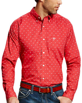 Ariat Men's Red Colton Print Western Shirt - Tall , Red, hi-res