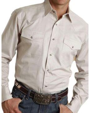 Roper Men's Tan Solid Twill Long Sleeve Shirt, Tan, hi-res