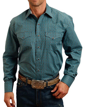 Stetson Men's Blue Geo Print Long Sleeve Snap Shirt, Blue, hi-res