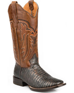 Roper Lizzy Faux Teju Lizard Cowgirl Boots - Square Toe, Brown, hi-res