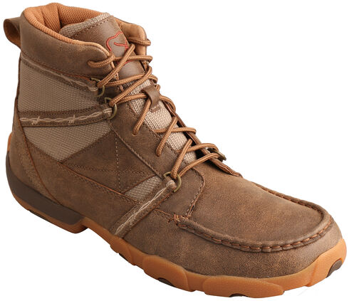 Twisted X Men's Bomber Brown Lace-Up Driving Shoes - Moc Toe , Brown, hi-res