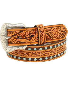 Nocona Men's Embossed Floral Western Belt , Tan, hi-res