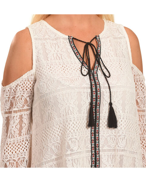 Polagram Women's Cold Should Lace Top with Tassel Detail, White, hi-res