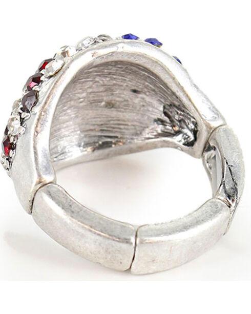 Shyanne Women's Rhinestone Flag Ring, Silver, hi-res