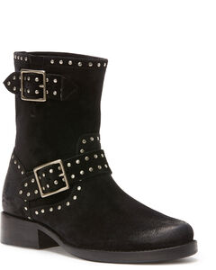 Frye Women's Black Vicky Stud Engineer Boots - Round Toe , Black, hi-res
