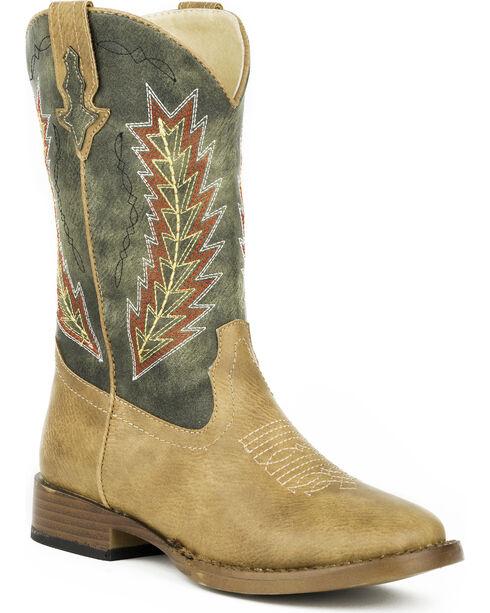 Roper Boys' Arrowheads Cowboy Boots - Square Toe, Tan, hi-res