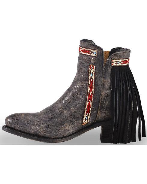 Corral Women's Fringe Ankle Short Boots - Medium Toe , Black, hi-res