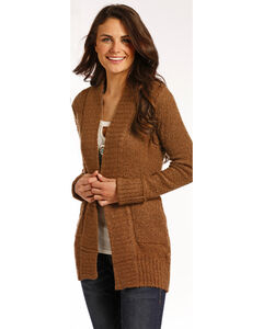 Panhandle Women's Brown Rib Knit Cardigan , Brown, hi-res