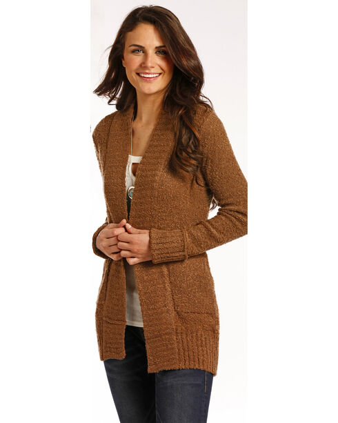 Panhandle Women's Brown Rib Knit Cardigan , Camel, hi-res