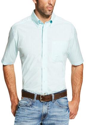 Ariat Men's Light Blue Finny Short Sleeve Shirt , Light Blue, hi-res