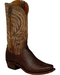 Lucchese Men's Tan Percy Lizard Boots - Square Toe , Tan, hi-res