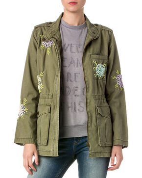 Miss Me Women's Olive Military Embroidered Jacket , Olive, hi-res
