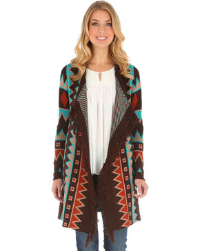 Wrangler Women's Aztec Print with Fringe Cardigan, Brown, hi-res