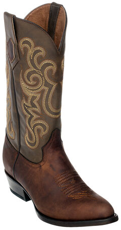 Ferrini Men's French Calf Leather Cowboy Boots - Round Toe, Chocolate, hi-res