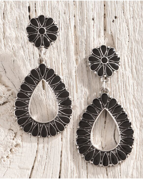 Shyanne Women's Floral Concho Teardrop Earrings, Silver, hi-res