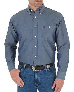 Wrangler George Strait Men's Solid Long Sleeve Shirt - Big, Blue, hi-res
