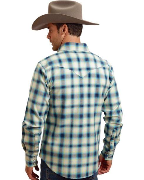 Stetson Men's Blue Ombre Plaid Long Sleeve Shirt , Blue, hi-res