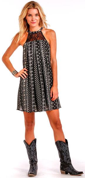 Panhandle Slim Women's Black Print Halter Dress, Black, hi-res