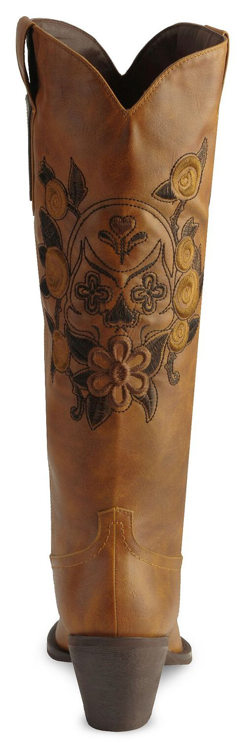Roper Skull & Floral Embroidered Cowgirl Boots - Pointed Toe, Tan, hi-res
