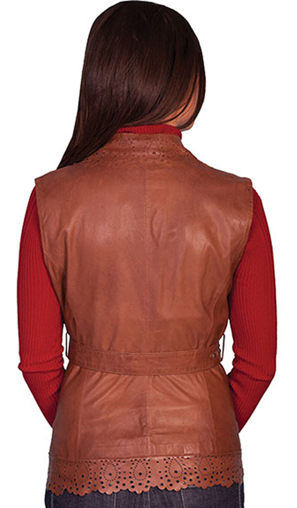 Scully Women's Perforated Lamb Leather Vest, Brown, hi-res