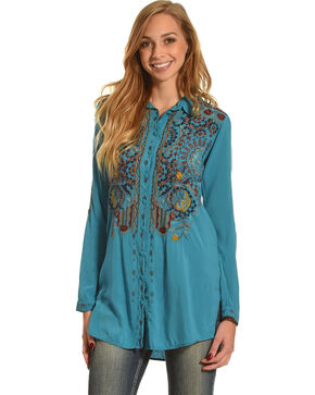 Johnny Was Women's Teal Haiseen Challis Blouse , Teal, hi-res