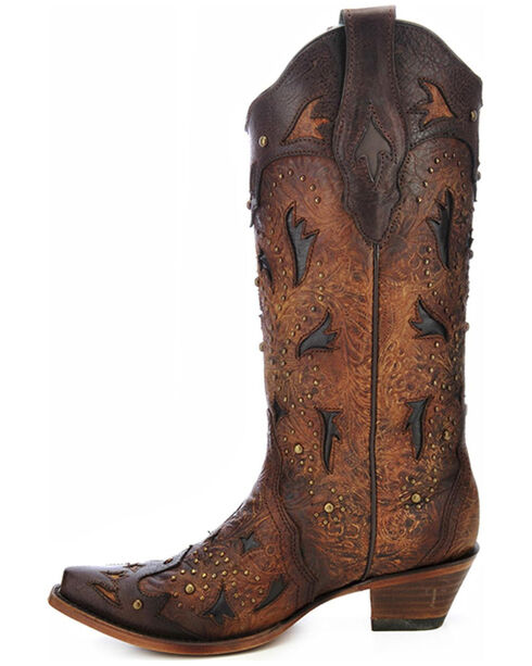 Corral Women's Studded Embossed Cowgirl Boots - Snip Toe, Brown, hi-res