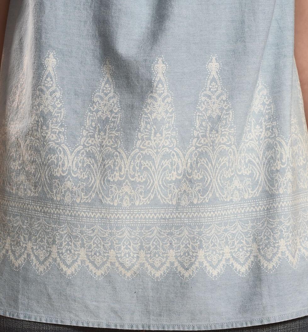 Derek Heart Women's Sleeveless Smocked High Neck Top with Border Print, , hi-res