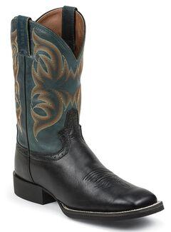 Justin Silver Deer Tan Buffalo Saddle Cowboy Boots - Square Toe, , hi-res