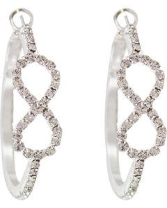 Shyanne Women's Rhinestone Infinity Hoop Earrings, Silver, hi-res