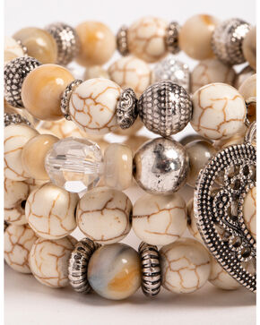 Shyanne Women's Bone Layered Stretch Bracelet Set, Silver, hi-res