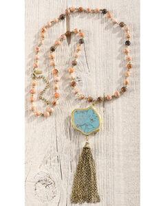 Shyanne Women's Beaded Fringe Necklace, Gold, hi-res