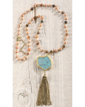 Shyanne Women's Beaded Fringe Necklace, Gold, hi-res