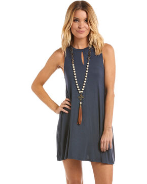 Panhandle Women's Navy Front Keyhole Knit Swing Dress, Navy, hi-res