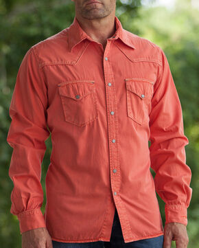 Ryan Michael Men's Paprika Pick Stitch Silk Gabardine Shirt , Chili, hi-res