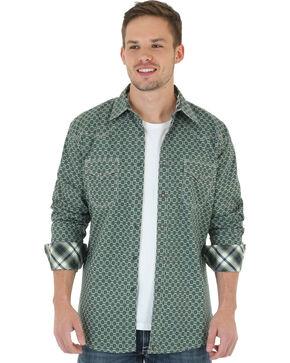 Wrangler 20X Men's Olive & Grey Foulard Print Shirt, Olive, hi-res