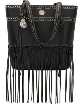 Bandana by American West Rio Rancho Black Zip Top Tote , Black, hi-res