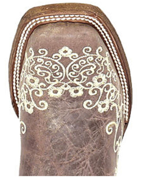 Corral Girls' Crater Bone Embroidered Cowgirl Boot - Square Toe, Brown, hi-res