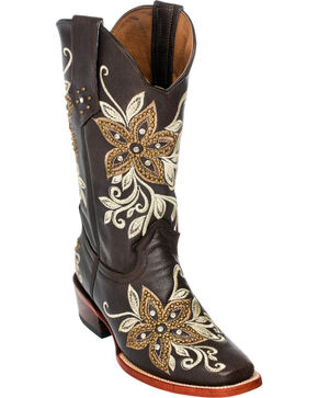 Ferrini Chocolate Star Power Cowgirl Boots - Square Toe, Chocolate, hi-res