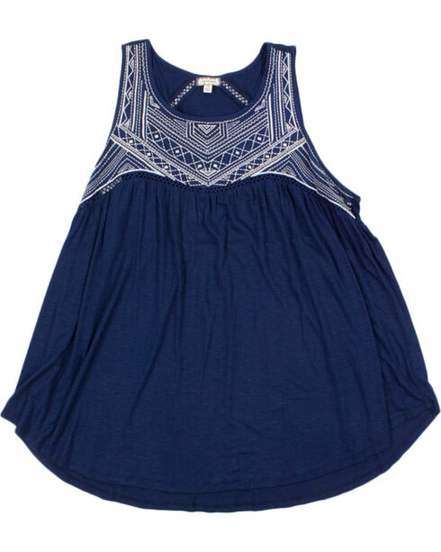 Eyeshadow Women's Embroidered Tank - Plus, Navy, hi-res