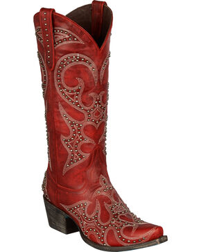 Lane Lovesick Stud Vintage Cowgirl Boots - Snip Toe, Red, hi-res