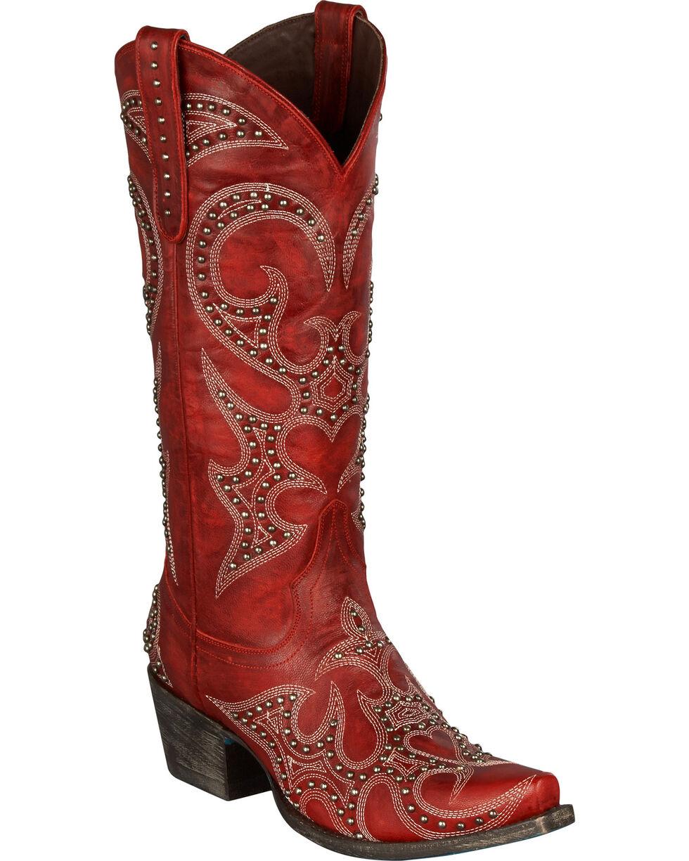 Lane Lovesick Stud Vintage Cowgirl Boots - Snip Toe, Red, hi-res