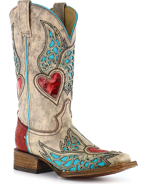 Corral Women's Turquoise Wing Red Heart Cowgirl Boots - Square Toe, Sand, hi-res