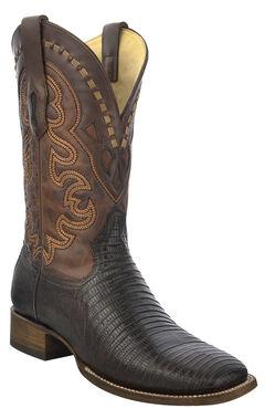 Corral Lizard Cowboy Boots - Wide Square Toe, Brown, hi-res