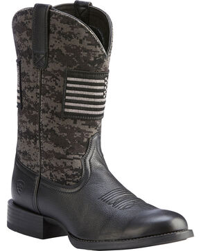 Ariat Men's Black Camo Sport Patriot Western Boots - Round Toe , Black, hi-res