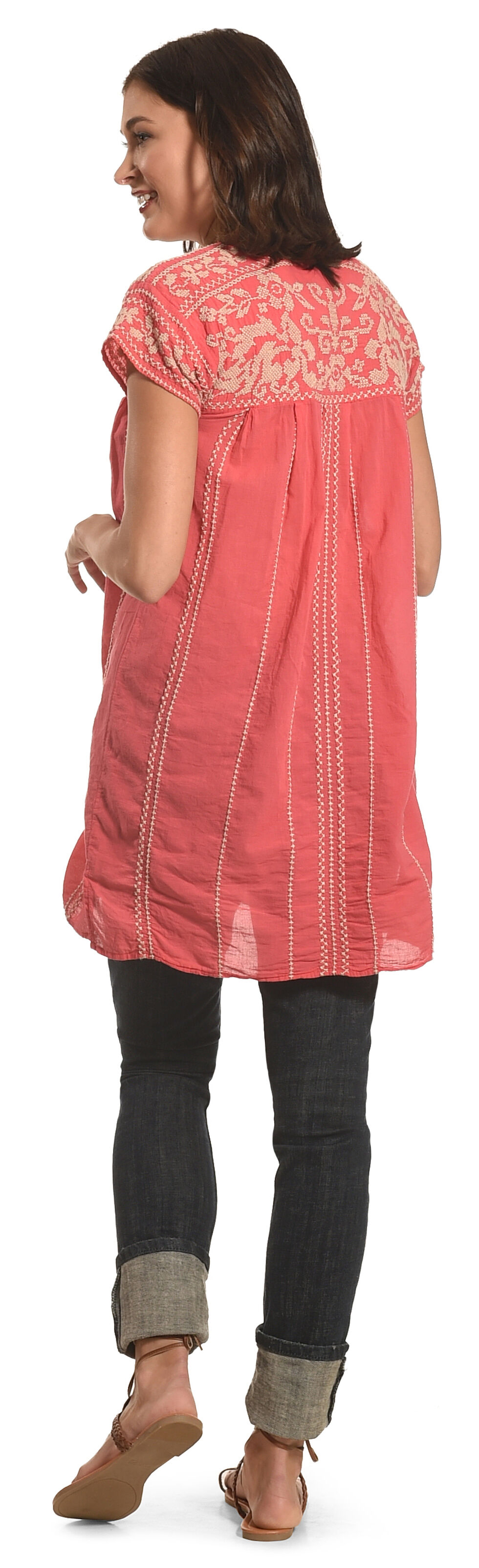 Johnny Was Women's Lenat Pleated Peasant Long Tunic, Coral, hi-res
