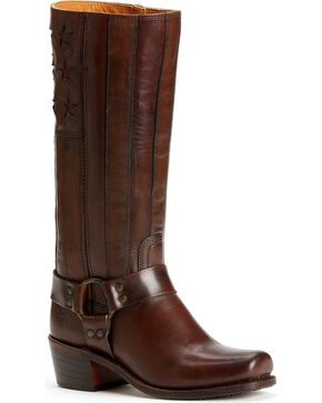 Frye Women's Harness Americana Tall Boots - Square Toe, Dark Brown, hi-res