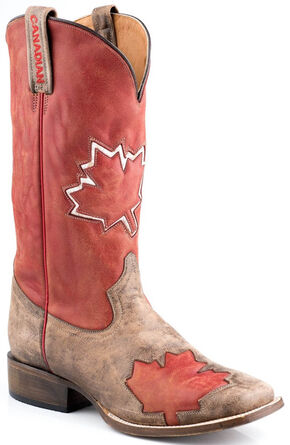 Roper Canadian Flag Cowboy Boots - Square Toe, Red, hi-res