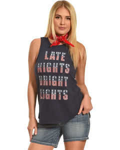 Shyanne Late Nights Bright Lights Embroidered Tank, Navy, hi-res
