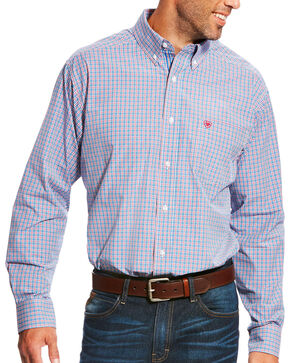 Ariat Men's Pro Series Lewisville Mykonos Blue Plaid Long Sleeve Button Down Shirt, Blue, hi-res