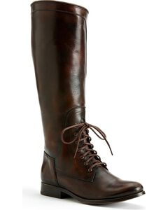 Frye Women's Melissa Lace-up Riding Boots - Round Toe, Dark Brown, hi-res